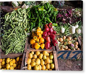 Vegetables For Sale In Souk, Marrakesh Canvas Print by Panoramic Images
