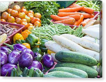 Vegetables Stand In Wet Market Canvas Print by JPLDesigns