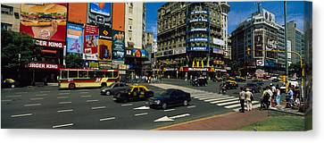 Vehicles Moving On A Road, Buenos Canvas Print by Panoramic Images