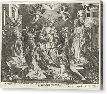 Veneration Of Mary With The Christ Child With St Canvas Print by Rapha?l Sadeler (i)