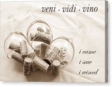 Veni Vidi Vino Toned Canvas Print by Georgia Fowler