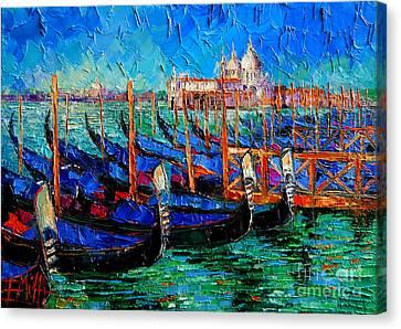 Venice - Gondolas - Santa Maria Della Salute Canvas Print by Mona Edulesco