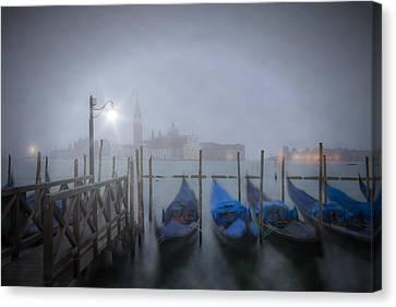 Venice Gondolas In The Mist Canvas Print by Melanie Viola