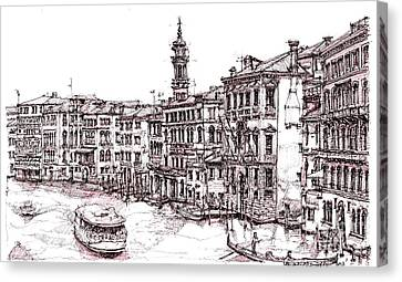 Venice In Pen And Ink Canvas Print by Adendorff Design