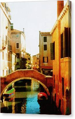 Venice Italy Canal With Boats And Laundry Canvas Print by Michelle Calkins