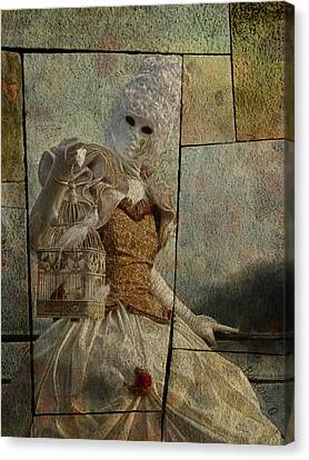 Venitian Carnival-bird In A Cage Canvas Print by Barbara Orenya