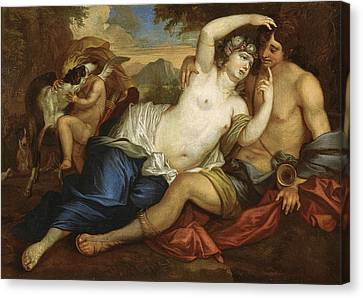 Venus And Adonis Canvas Print by Jan Boeckhorst