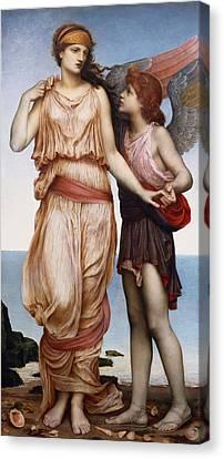 Venus And Cupid Canvas Print by Evelyn De Morgan