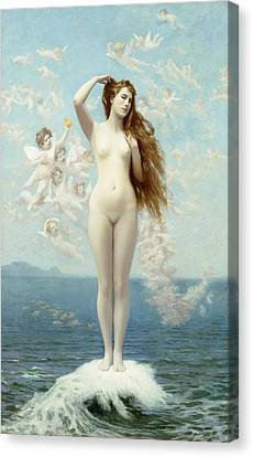 Venus Rising The Star Canvas Print by Jean Leon Gerome