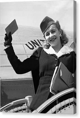 Vera Hruba Gets New Visa Canvas Print by Underwood Archives