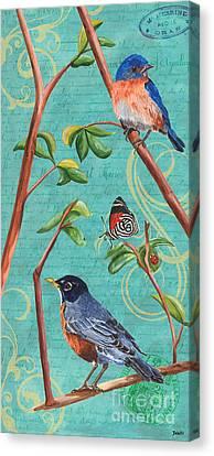 Verdigris Songbirds 1 Canvas Print by Debbie DeWitt