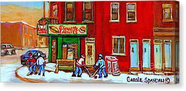 Verdun Art Winter Street Scenes Pierrette Patates Resto Hockey Painting Verdun Montreal Memories Canvas Print by Carole Spandau