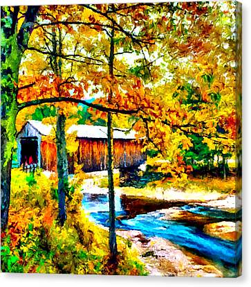 Vermont Covered Bridge Canvas Print by Bob and Nadine Johnston