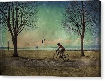Vermont Lake Champlain Man Bicycle Summer Canvas Print by Andy Gimino