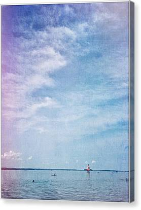 Vermont Summer Beach Boats Clouds Canvas Print by Andy Gimino