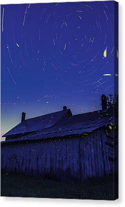 Vermont Twilight Blue Hour Farmhouse Startrails Fireflies Canvas Print by Andy Gimino
