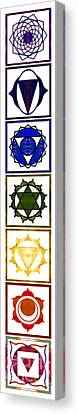 Vertical Columns Of Energy Abstract Chakra Art By Omaste Witkows Canvas Print by Omaste Witkowski