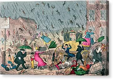 Very Unpleasant Weather Canvas Print by George Cruikshank