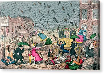 Very Unpleasant Weather Canvas Print by George Cruikshank