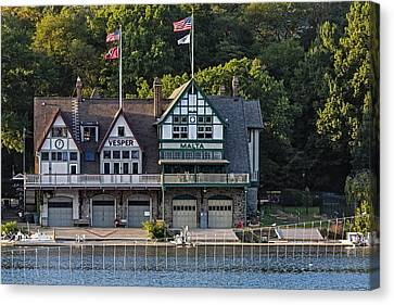 Vesper And Malta Boat Clubs Boathouse Row Canvas Print by Susan Candelario