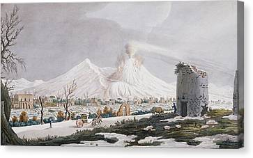 Vesuvius In Snow, Plate V From Campi Canvas Print by Pietro Fabris