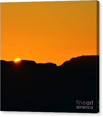 Vibrant Orange Sky Accompanies Sun Rising Over Grand Canyon With Distant Watchtower Silhouetted Sq Canvas Print by Shawn O'Brien