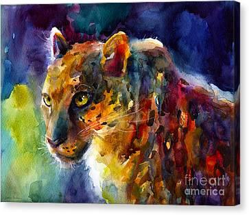 Vibrant Watercolor Leopard Wildlife Painting Canvas Print by Svetlana Novikova