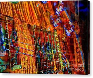 Vibrations Digital Guitar Art Bt Steven Langston Canvas Print by Steven Lebron Langston