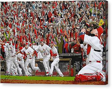 Victory - St Louis Cardinals Win The World Series Title - Friday Oct 28th 2011 Canvas Print by Dan Haraga