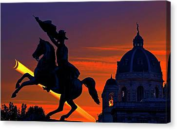 Vienna Monuments And Crescent Moon Canvas Print by Babak Tafreshi