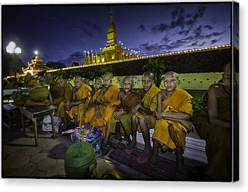 Vientiane Young Monks Canvas Print by David Longstreath
