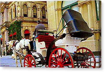 Vieux Port Caleche Scene White Horse Red Wheels Trots Along Cobbled Stones Streets Carole Spandau  Canvas Print by Carole Spandau