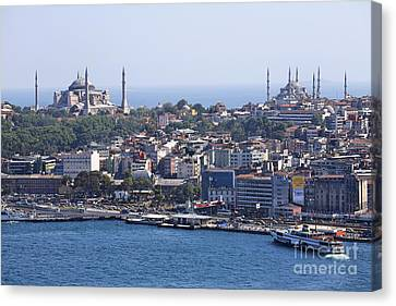 View Across The Bosphorus To The Hagia Sophia And The Blue Mosque Canvas Print by Robert Preston