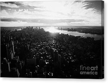 View From The Empire State Building Over Lower Manhattan New York City Usa Canvas Print by Joe Fox