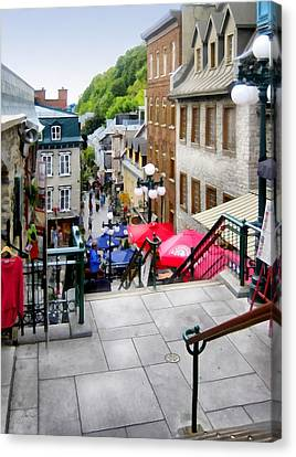 View From The Stairs Old Quebec City  Canvas Print by Ann Powell