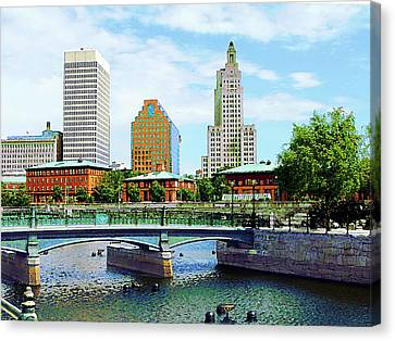 View From Waterplace Park Providence Ri Canvas Print by Susan Savad