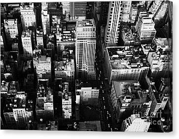 View North And Down Towards Building Rooftops And Fifth 5th Avenue Ave From Empire State Building Canvas Print by Joe Fox