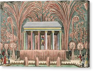 View Of A Firework Display In The Jardin Du Luxembourg, 28th November 1807 Coloured Engraving Canvas Print by French School