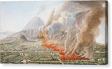 View Of An Eruption Of Mount Vesuvius Canvas Print by Pietro Fabris