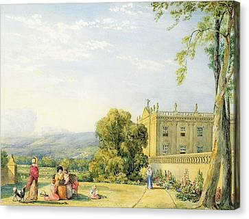 View Of Chatsworth, Derbyshire, C.1820 Canvas Print by Frances Elizabeth Swinburne