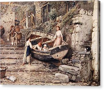 View Of Clovelly, With Stranded Boat Canvas Print by Myles Birket Foster