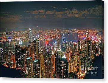 View Of Hong Kong From The Peak Canvas Print by Lars Ruecker