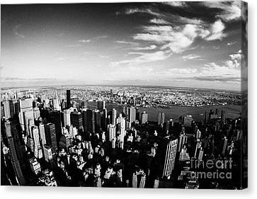 view of manhattan north east towards east river and Queens new york city usa Canvas Print by Joe Fox
