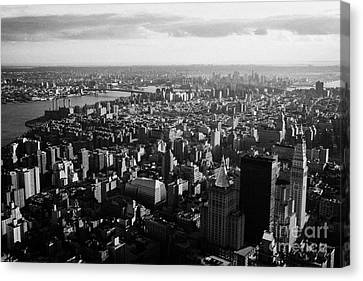view of manhattan south east towards east river and Brooklyn new york city cityscape usa Canvas Print by Joe Fox