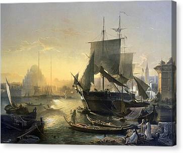 View Of Shipping On The Bosphorus Canvas Print by German School