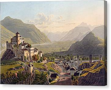 View Of Sion, Illustration From Voyage Canvas Print by Gabriel L. & Lory, Mathias G. Lory