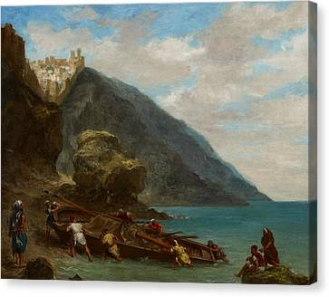 View Of Tangier From The Seashore Canvas Print by Ferdinand Victor Eugene Delacroix