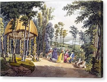 View Of Temple Reisenburg, Palace Canvas Print by Laurenz Janscha