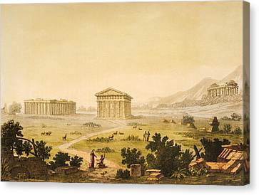 View Of Temples In Paestum At Syracuse Canvas Print by Giulio Ferrario