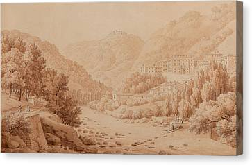View Of The Baths Of Lucca Canvas Print by Constant Bourgeois du Castelet